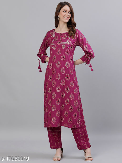 Ishin Women's Rayon Purple Printed A-Line Kurta Trouser Set