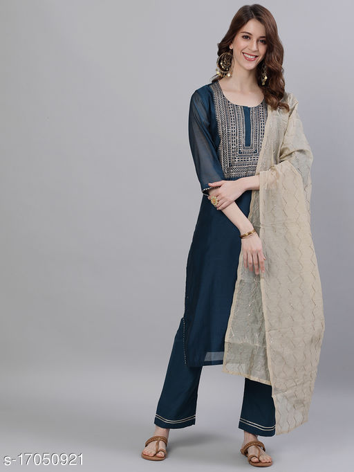Women's Chanderi Silk Teal A-line Ethnic Motif Embroidered Kurta With Trousers