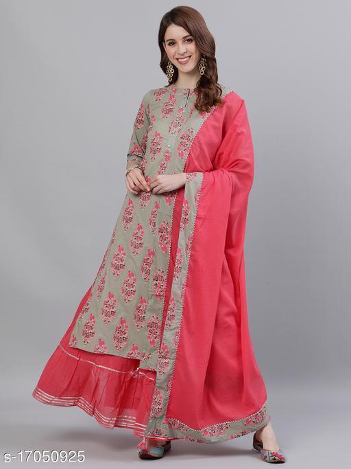 Ishin Women's Sea Green & Pink Gota Patti A-Line Kurta Skirt Dupatta Set