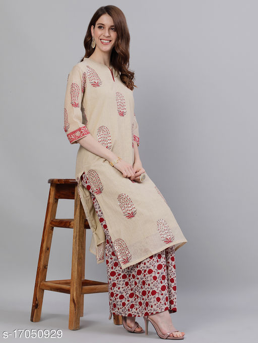 Women's Chanderi Cotton Beige A-line Colorblocked Embroidered Kurta With Palazzos