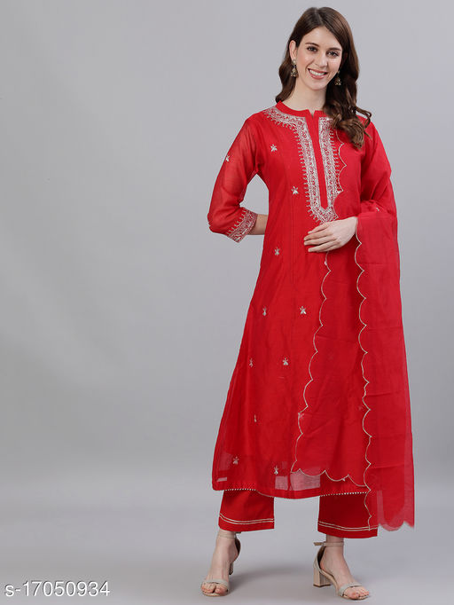 Women's Chanderi Silk Red A-line Floral Embroidered Kurta With Trousers