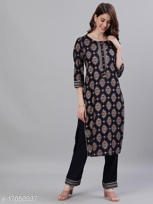 Ishin Women's Rayon Navy Blue Printed A-Line Kurta Trouser Set