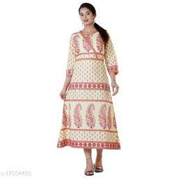 Women Cotton Anarkali Embroidered Yellow Kurti