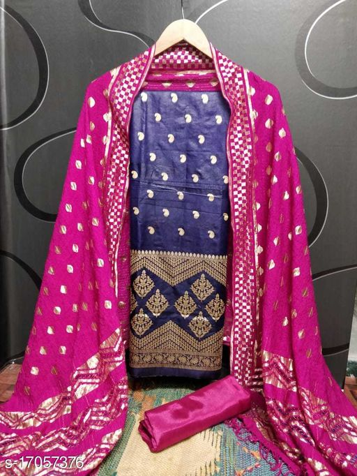 Shree Sanskruti Navy Blue color chanderi unstitched dress material with Jacquard Dupatta
