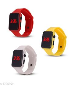 I Phone Square Red With Yellow With White  LED Digital  W24  Combo Pack Of 3 (NOT SMART) Watch