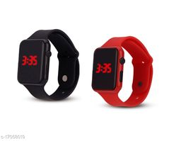 I Phone Square Black With Red  LED Digital  W24 Combo Pack Of 2 (NOT SMART) Watch