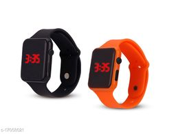 I Phone Square Black With Orange  LED Digital  W24 Combo Pack Of 2 (NOT SMART) Watch
