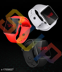 I Phone Square Orange With White With Black  LED Digital  W24  Combo Pack Of 3 (NOT SMART) Watch