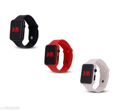 I Phone Square Black With Red With White  LED Digital  W24  Combo Pack of 3 (NOT SMART) Watch