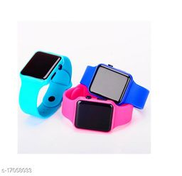 I Phone Square SkyBlue With Pink With Blue  LED Digital  W24  Combo Pack Of 3 (NOT SMART) Watch