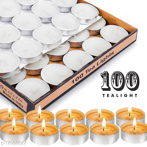 GreenDecor White Smokeless, Unscented Tealight Candle for Home Décor (Pack of 100)