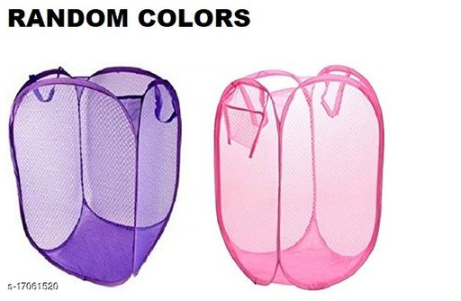 Trendy Classic Daily Use Laundry Bag (Foldable and Collapsible basket with easy to carry handle for home, dorms, hostel, toy storage, clothes etc.) (Multi or Random Colours will be provided)( Pack of 2)