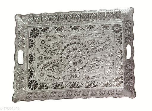 RANIC Plastic Big Square Shape Royal Decorated Art Plate/Tray for Wedding/Navratri/Dussehra/Christmas/Pongal/Sankranti (Silver)