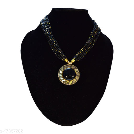 Women's and Girls's Black Colour Beads Brass Necklace