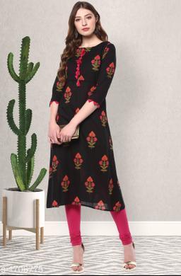 Women's Printed Black Cotton Kurti