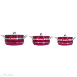 Colorful Handi Set of 3 Piece with Lid and Handle)(Size:1500 Ml,1000 Ml, 750 Ml)(Color:Rani)