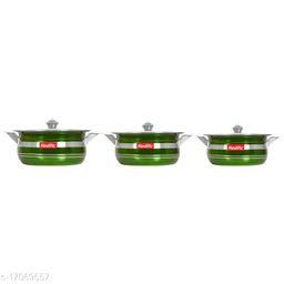 Colorful Handi Set of 3 Piece with Lid and Handle)(Size:1500 Ml,1000 Ml, 750 Ml)(Color:Green)