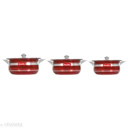 Colorful Handi Set of 3 Piece with Lid and Handle)(Size:1500 Ml,1000 Ml, 750 Ml)(Color:Red)