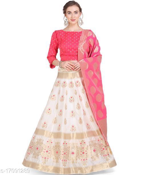 Raj Creation Women's Jacquard Semi-Stitched Lehenga choli