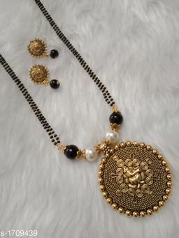 Elegant Gold Oxidized Mangulsutra Set