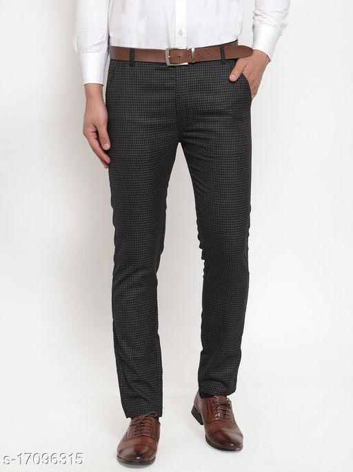 Jainish Men's Checked Formal Trousers