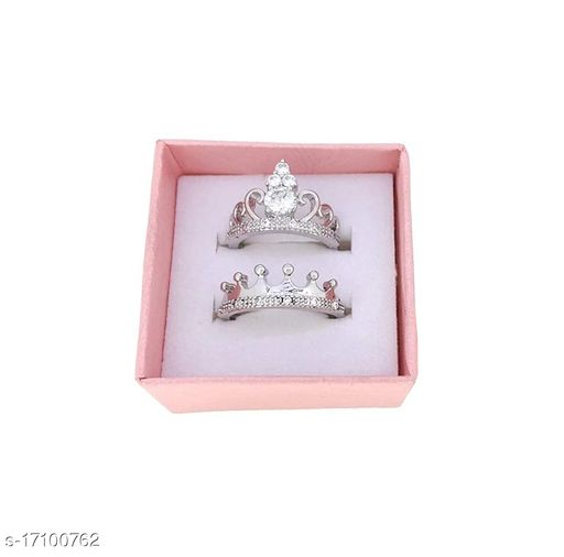 Stylewell Me & You His Her Stainless Steel Crystal Platinum Plated Adjustable Size King Crown and Queen Crown with Diamond Rings for Men's & Women's/husband & Wife/boyfriend & Girlfriend/king Queen/prince Princess with Red Box (Silver)