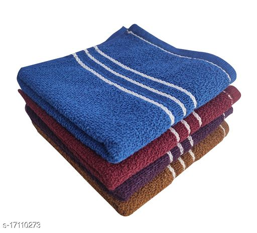 Hand Towels Combo Pack of 4 - Cotton - Size 33x51 CM - Dark Solid