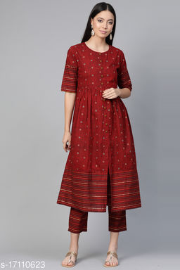 Indo Era Maroon Foil Printed A-Line Kurta with Trouser Sets