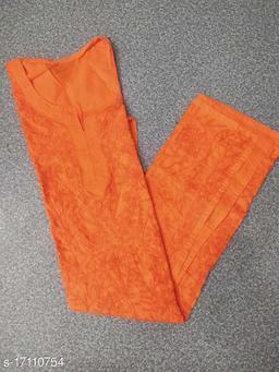Women Cotton Chikankari Orange Kurti