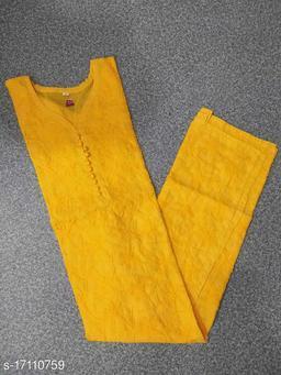 Women Cotton Chikankari Yellow Kurti