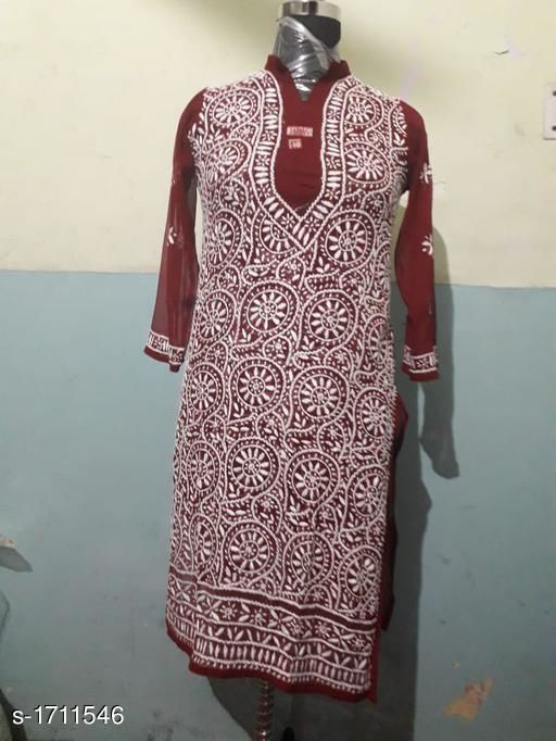 Kurtis & Kurtas  Stunning Georgette Chikankari Kurti With Dupatta  *Fabric* Kurti - Georgette , Dupatta - Georgette  *Sleeves* Sleeves Are Included  *Size* Kurti -38 in,40 in ,42 in, 46 in, Dupatta- 2 Mtr  *Length* Up To 44 in  *Type* Stitched  *Description* It Has 1 Piece Of Women's Kurtis With 1 Piece Of Dupatta  *Work* Chikankari Work  *Sizes Available* 38, 40, 42, 44, 46 *   Catalog Rating: ★3.8 (6)  Catalog Name: Siya Stunning Georgette Chikankari Kurtis With Dupatta Vol 1 CatalogID_223785 C74-SC1001 Code: 627-1711546-
