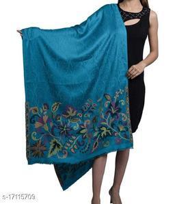 Women's Silk Modal, Floral Designer Palla, Self Embellished, Soft Stole / Shawl