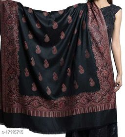 Women's Fine Wool, Paisely Designer Border with Jaal, Kashmiri, Jacquard Woven Soft & Warm Shawl