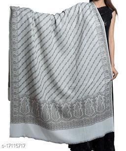 Women's Fine Wool, Paisley Designer Border, Diagnol Floral Pattern, Jacquard Woven Soft & Warm Shawl