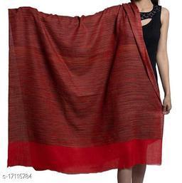 Women's Fine Wool, Khadi Stripes pattern, Pashmina, Soft & Warm Shawl