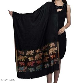 Women's Modal Silk, Designer Elephant Motifs Border, Self embellished, Soft Designer Stole / Shawl