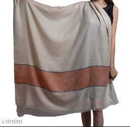 Women's Fine Wool, Designer Contrast Palla, Self Embellished, Pashmina, Soft & Warm Shawl