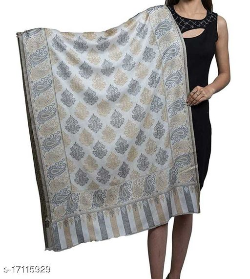 Women's Fine wool, Kaani Jaal , Paisley Design, Soft Stole