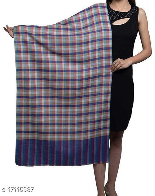 Women's Poly Wool , Checkered Pattern, Stole / Shawl
