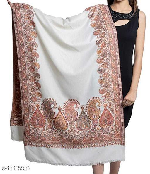 Women's Fine Wool, Paisley Palla with Designer Border, Kashmiri Woven Soft & Warm Stole