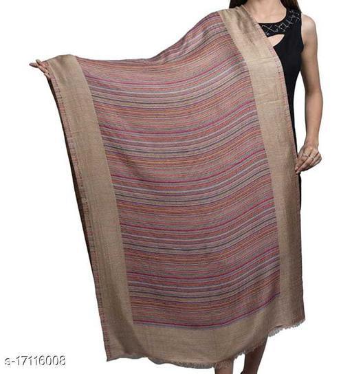 Women's Fine Wool Silk, Designer Stripes, Soft Woven Stole / shawl