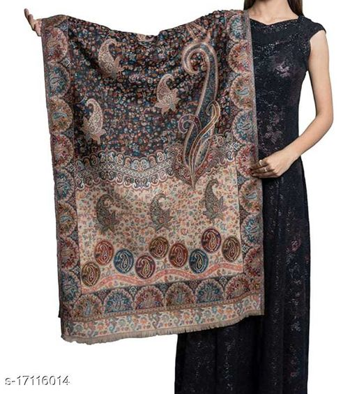 Women's Fine Wool Kaani Jaal, Floral Paisely Pattern, Kashmiri Soft & Warm Stole / Shawl
