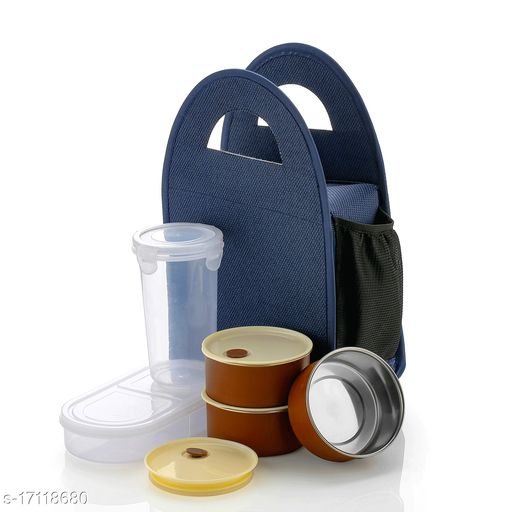 Airtight Lunch Boxes for Office with Bag Steel Tiffin Box 300ML with Tumbler 500ML, 4-Pieces Blue