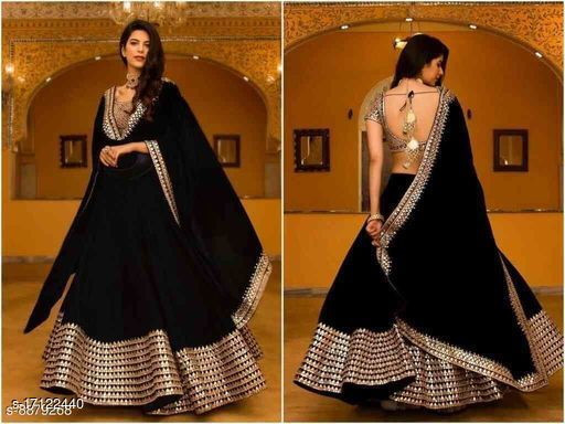 Black Embroidered Attractive Party Wear Lehenga Choli-LC207