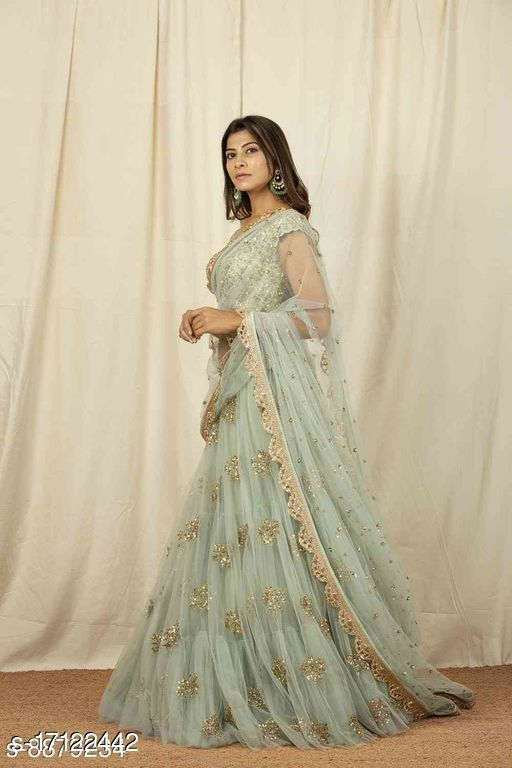 Unique Olive Green Colored Embrodary Work Party Wear  Net with Raw Silk Material Designer Lehenga Choli-LC280