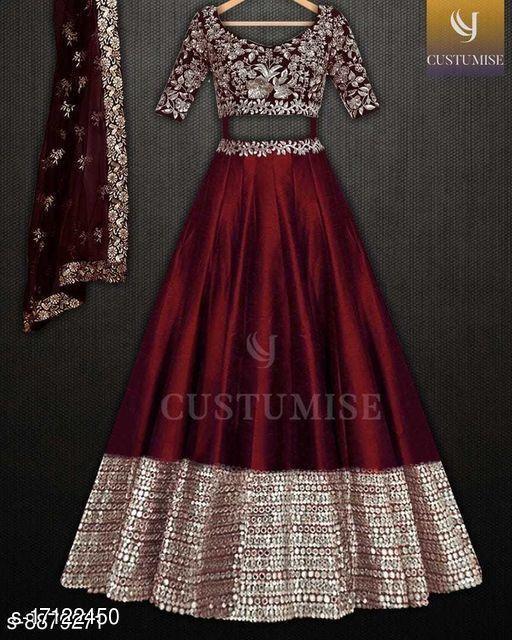 Maroon Colored Party Wear Lehengha Choli With Embrodariy Work-LC278