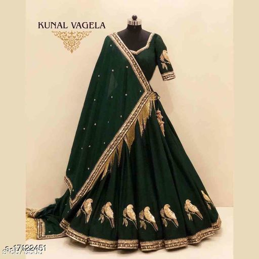 Green Embroidered Attractive Party Wear Lehenga Choli-LC224