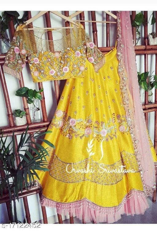 Yellow Colored Party Wear Pieach Colored Duppatta Lehengha Choli With Embrodariy Work-LC262