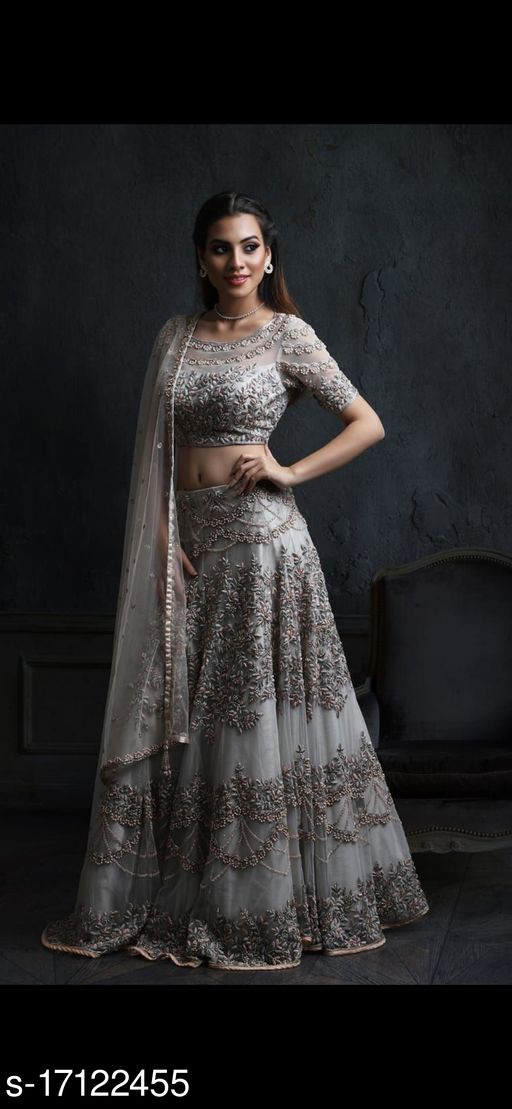 Grey Colored Partywear Designer Embroidered Net with silk Material Lehenga Choli-LC66