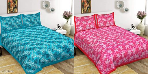 Jaipuri Double Bedsheet 100% Cotton with Floral Print and 2 Pillow Covers(Combo of 2)
